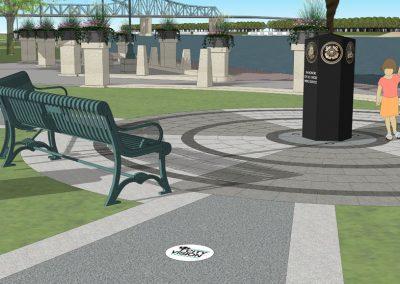 Architect rendering of Veterans Memorial Statue in La Crosse's Riverside Park - Angle 2