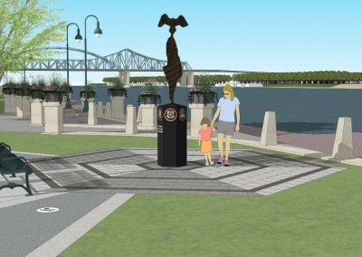 Architect rendering of Veterans Memorial Statue in La Crosse's Riverside Park - Angle 1